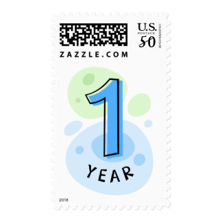 Baby boys first birthday stamp