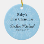 Baby Boy's First Christmas - Blue Snowflake Christmas Tree Ornaments