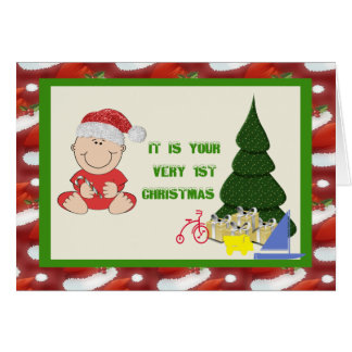 Baby Boy's First  Christmas  Card Greeting Card