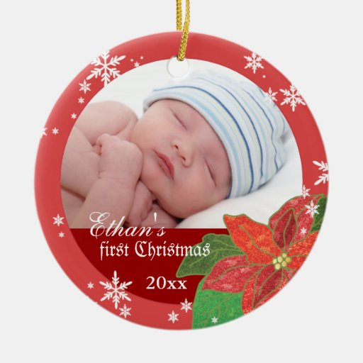 Baby Boy Gifts For Christmas : Baby boy s first christmas red gift photo ornament zazzle