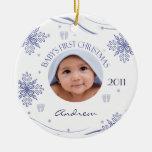 Baby Boy's First Christmas Snowflake Photo Ornamen Christmas Tree Ornament