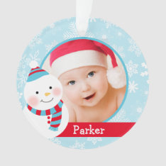 Baby Boy's First Christmas | Winter Friends Ornament at Zazzle