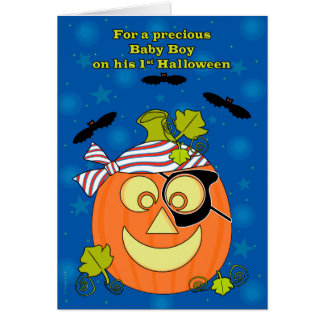 Baby Boy's First Halloween Pumpkin Pirate and Bats Greeting Cards