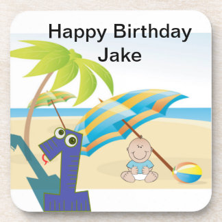 Baby Boy's First Year Birthday Drink Coaster