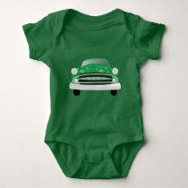 Baby Boy's Green Classic Car Geometric Pattern Baby Bodysuit