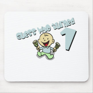 """Baby Boys """"guess who turned 1"""" design Mouse Pad"""