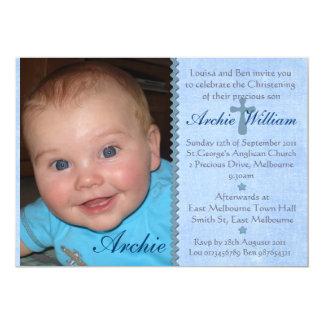 Baby Boys photo Christening invitation - Archie 13 Cm X 18 Cm Invitation Card