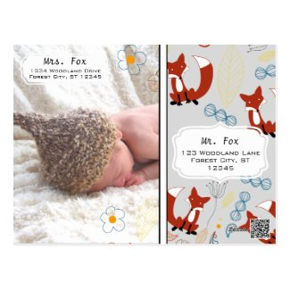 Baby Boy's Photo Fox Woodland Birth Record Stats