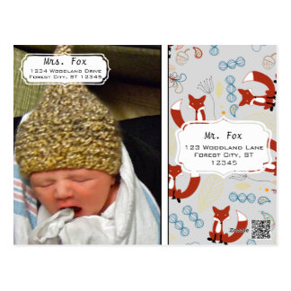 Baby Boy's Photo Fox Woodland Birth Record Stats Postcard