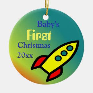 Baby Boy's Rocket Ship Ceramic Ornament