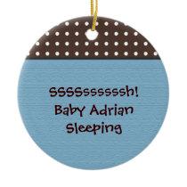 baby boy's room blue door hanger ceramic ornament