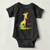 Baby Boys Watercolor Giraffe Personalized Animal Baby Bodysuit