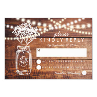 BABY BREATH RUSTIC COUNTRY MASON JAR WEDDING RSVP CARD