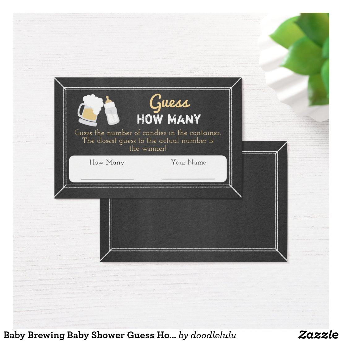 Baby Brewing Baby Shower Guess How Many Guest Card