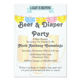 Baby Brewing Beer & Diaper Baby Shower Invitation