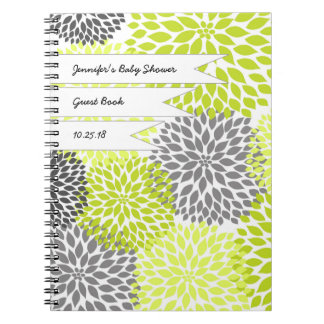 Baby Bridal Shower Guest Book chartreuse gray Notebook