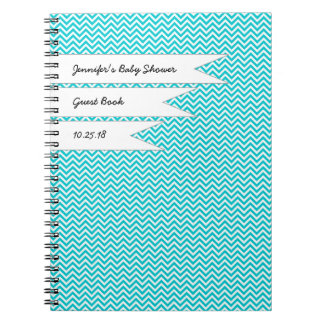 Baby Bridal Shower Guest Book Turquoise Chevron Spiral Notebook
