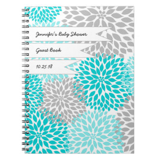 Baby Bridal Shower Guest Book turquoise gray Spiral Notebook