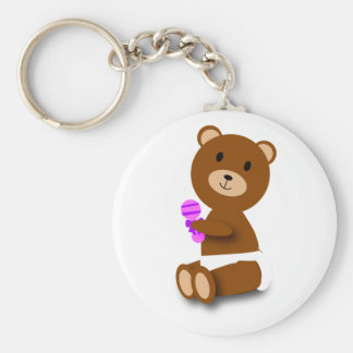 baby brown bear diaper rattle keychain