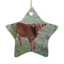 Baby Brown Cow . Ceramic Ornament