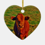 BABY BROWN COW EATING Double-Sided HEART CERAMIC CHRISTMAS ORNAMENT