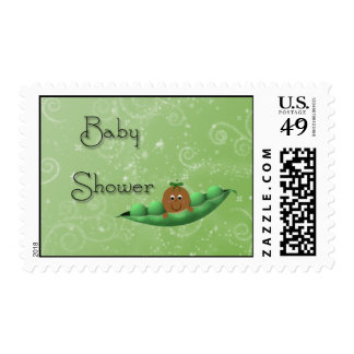 Baby Brown Face Green Peapod Stamp