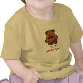 Baby Brown Teddy Bear It's My Birthday Custom Year Tees