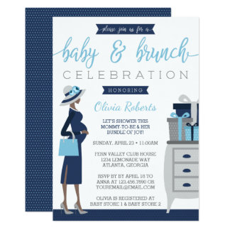 Baby & Bruch Baby Shower Invitation, Blue, Gray Card