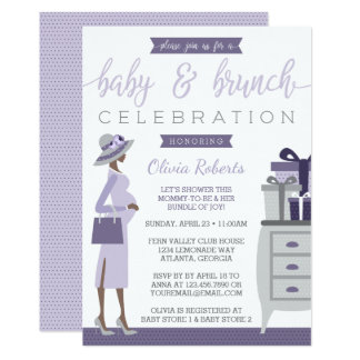 Baby & Bruch Baby Shower Invitation, Purple, Gray Card