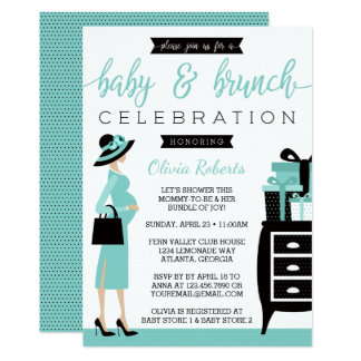 Baby & Bruch Baby Shower Invitation, Teal, Black Card