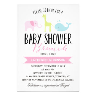 baby brunch baby shower 5x7 paper invitation card