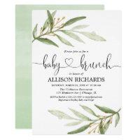 Baby brunch gender neutral greenery baby shower invitation