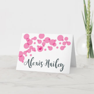 Baby Bubbles Thank You Pink Note Card