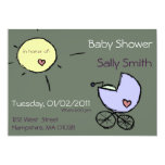 Baby buggy and sun - Baby shower invitations