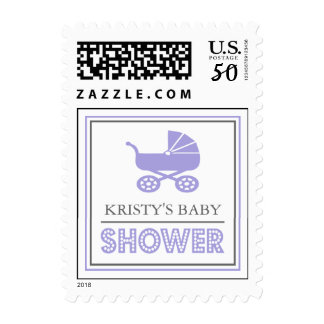 Baby Buggy Baby Shower Postage (Purple)