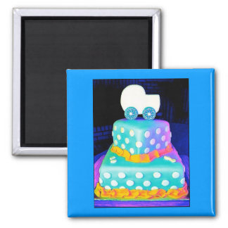 Baby Buggy Cake - Boy Refrigerator Magnet