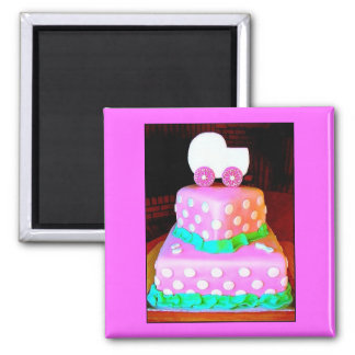 Baby Buggy Cake - Girl Magnets