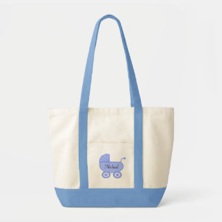 Baby Buggy Carriage Blue Diaper Tote Bag