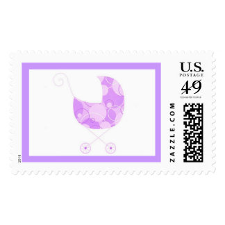 Baby Buggy in Purple Postage Stamp