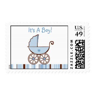 Baby Buggy Pink  Birthday Postage Stamps