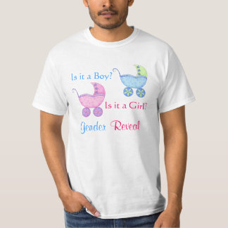 Baby Buggy Pink Blue Gender Reveal Party Man's Shirts