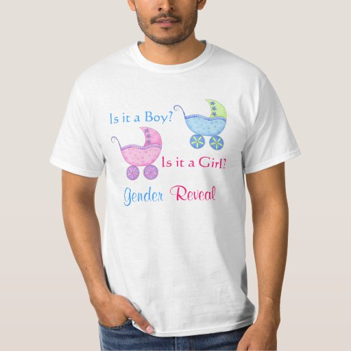 Baby buggy pink blue gender reveal party man 39 s t shirt for Baby pink shirt for man