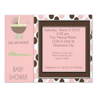 Baby Buggy Shower Inviations 4.25x5.5 Paper Invitation Card