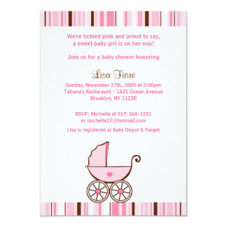 Baby Buggy Stripes Baby Shower Invitations