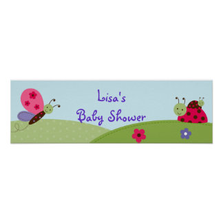 Baby Bugs Ladybug Butterfly Birthday Banner Sign Poster