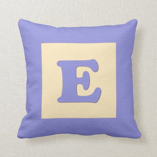 Letter B Throw Pillow : Baby building block throw pIllow letter E (blue) Zazzle