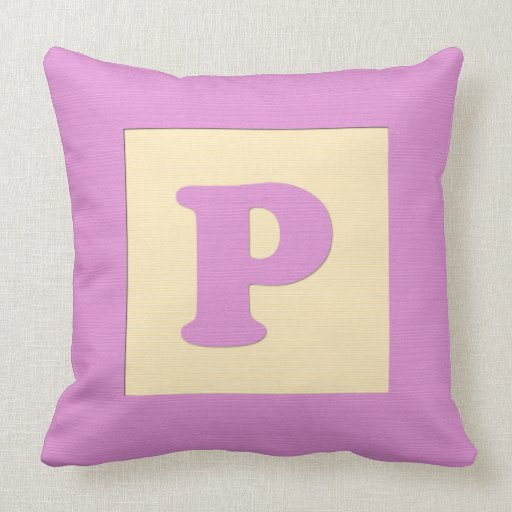 Baby building block throw pIllow letter P (pink) Zazzle