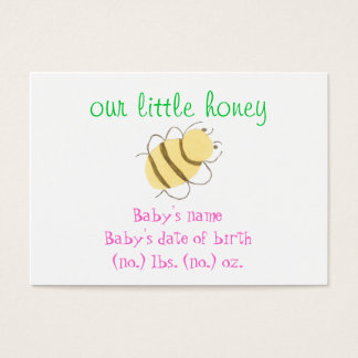 Baby bumblebee pocket birth announcement business card