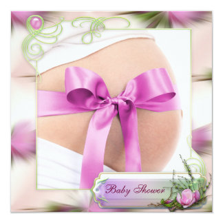 Baby Bump with Pink Bow Pink Magnolia Baby Shower Card