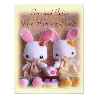 "Baby Bunnies Elegant Twin Girls Birthday Invites 4.25"" X 5.5"" Invitation Card"